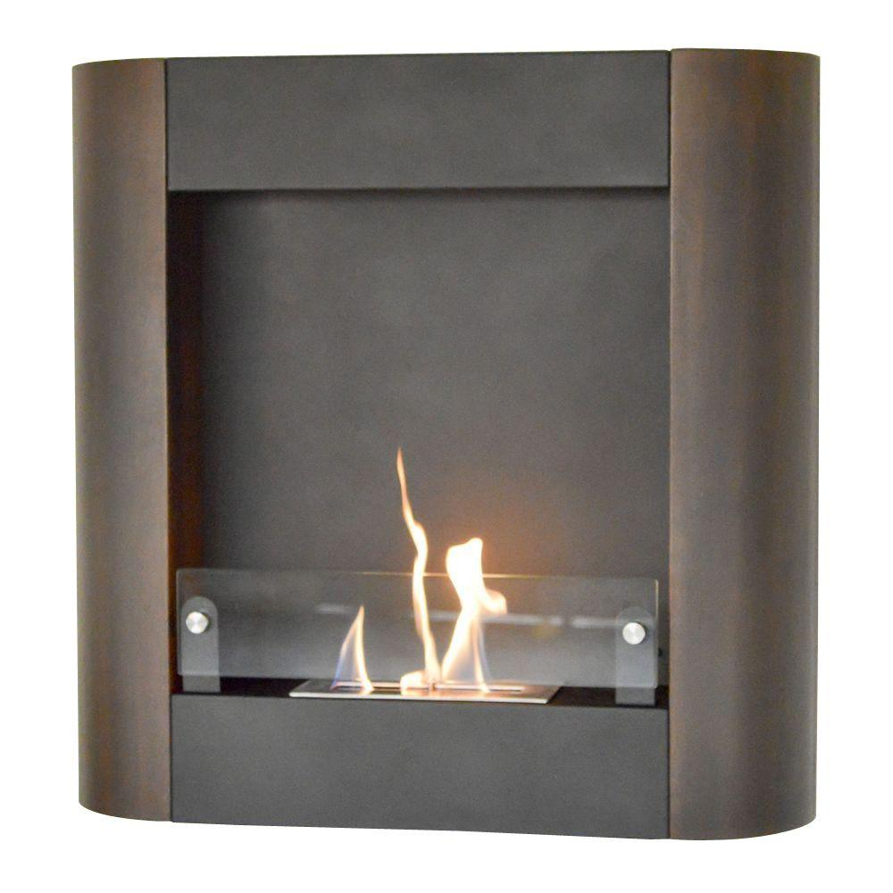 32.5 in. W Focolare Muro Noce Wall-Mounted Fireplace in Black