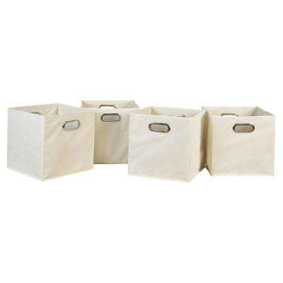 Cubo 12 in. x 12 in. Natural Foldable Fabric Bin (4-Pack)