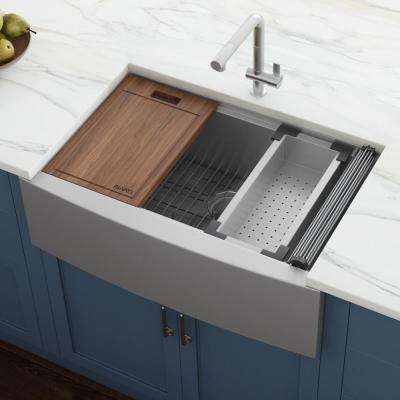 27 in. Single Bowl Apron-front Farmhouse Workstation Kitchen Sink in Stainless Steel