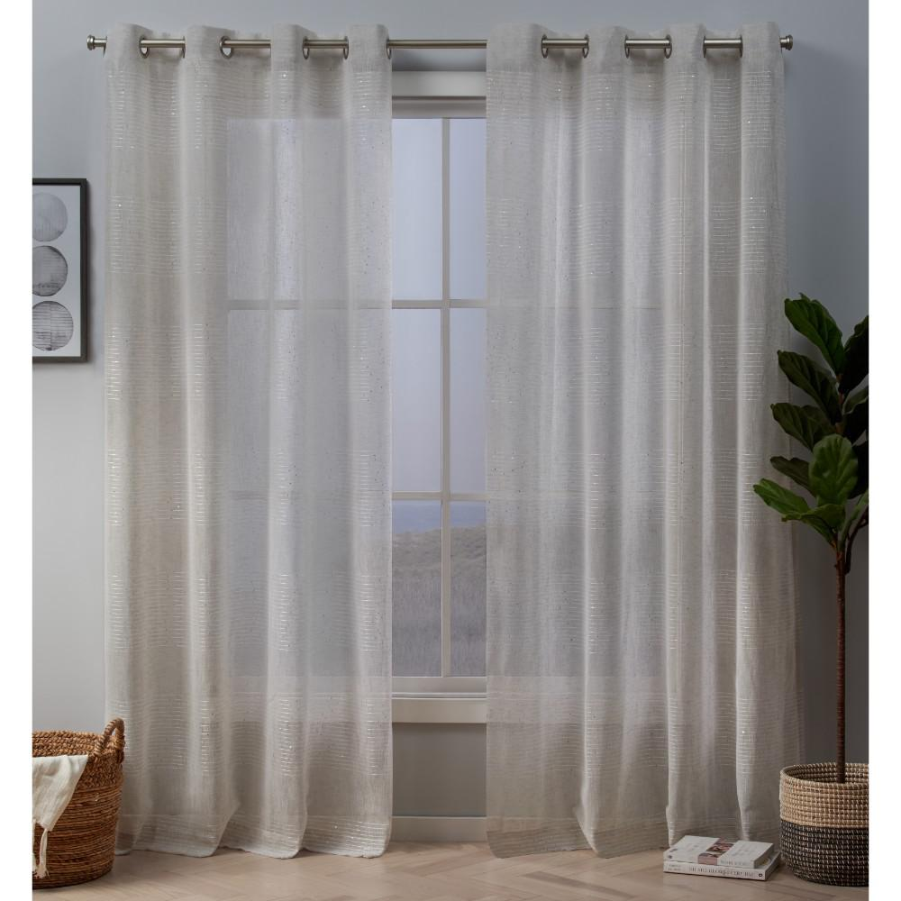 Exclusive Home Curtains Crest 54 In W X 96 L Stripe Embellished Sheer Grommet Top Curtain Panel Linen 2