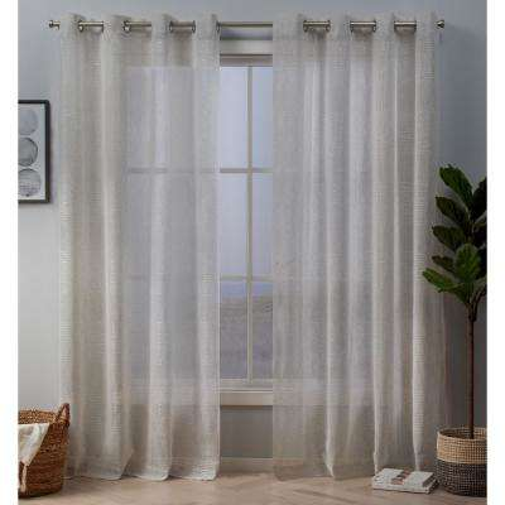 Crest 54 in. W x 96 in. L Stripe Embellished Sheer Grommet Top Curtain Panel in Linen (2-Panel)