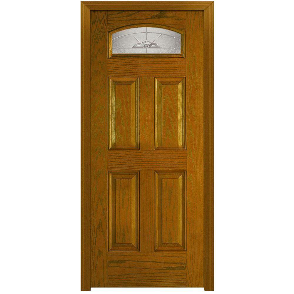 MMI Door 36 in. x 80 in. Master Nouveau Left Hand 1/4 Lite 4-Panel Classic Stained Fiberglass Oak Prehung Front Door