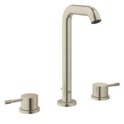 Essence New 8 in. Widespread 2-Handle 1.2 GPM High-Arc Bathroom Faucet in Brushed Nickel InfinityFinish