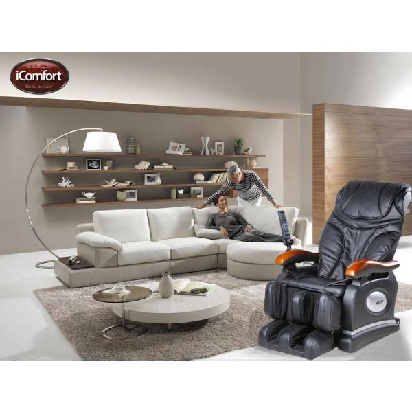 iComfort Black Faux Leather Reclining Massage Chair