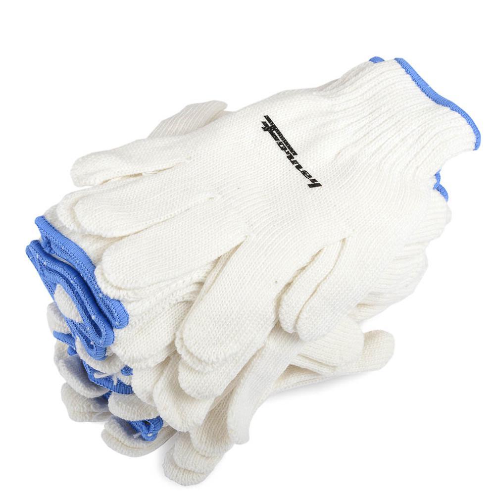 String Knit Gloves, 12-Pack (Size L)