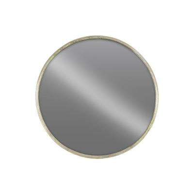 Round Champagne Tarnished Wall Mirror