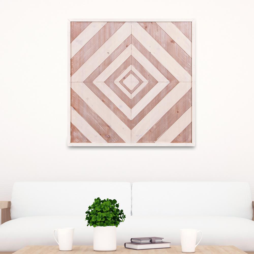 Geometric Quilt Framed Wooden Wall Art