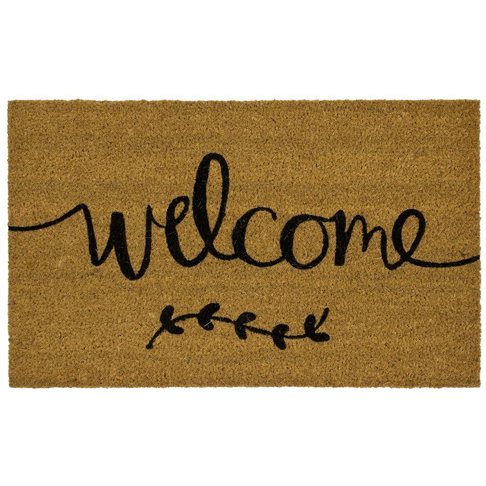 Welcome Branch Script 18 in. x 30 in. Coir Mat