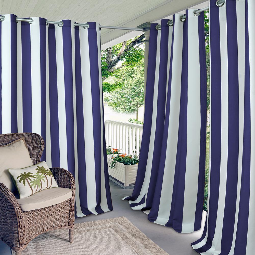 Aiden Stripe 50 in. W x 84 in. L Indoor/Outdoor Grommet Window Curtain in Navy