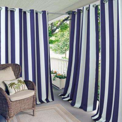 Aiden Stripe 50 in.  W x 108 in.  L, Indoor/Outdoor Grommet Window Curtain, Navy