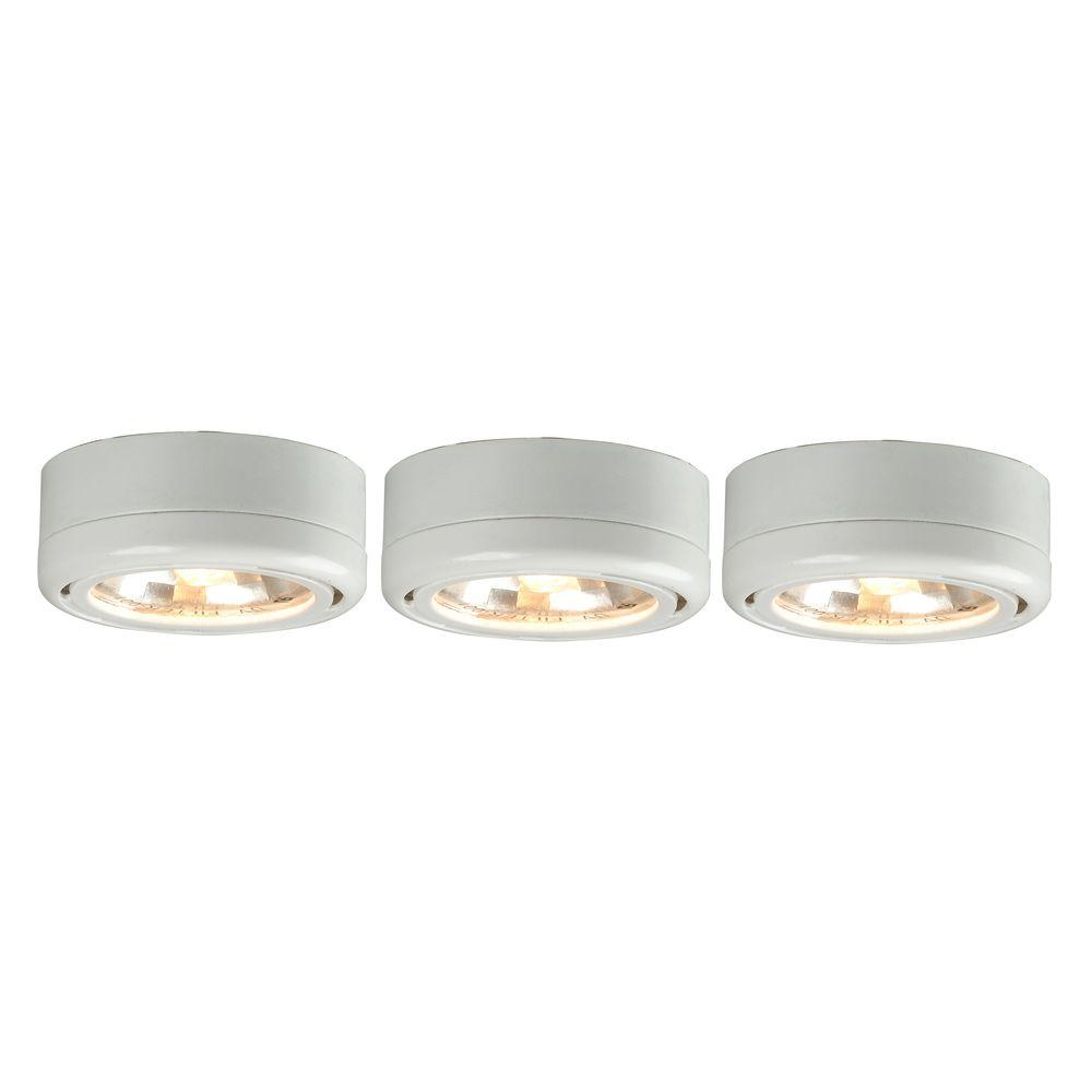 Hampton Bay 3 Light White Round Under Cabinet Halogen Puck Lights
