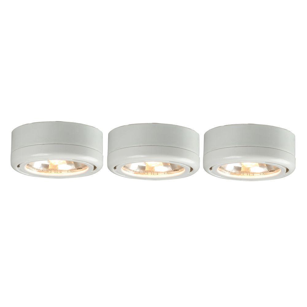 3-Light White Round Under Cabinet Halogen Puck Lights