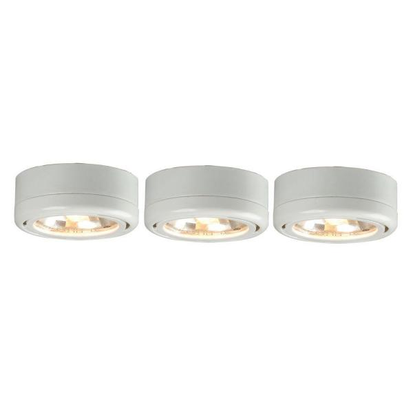 Hampton Bay 3 Light White Round Under Cabinet Halogen Puck Lights Ec5930wh The Home Depot