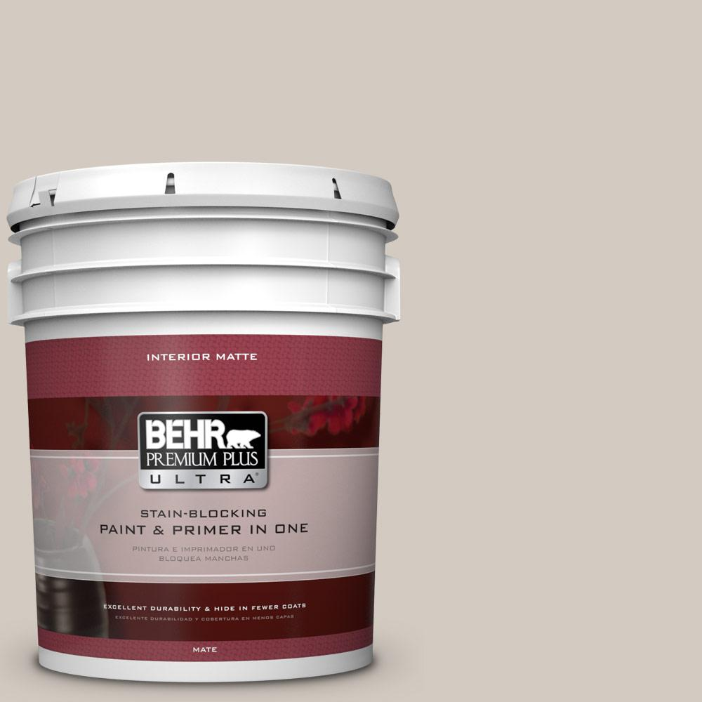 BEHR Premium Plus Ultra 5 gal. #N320-2 Toasty Gray Matte Interior Paint