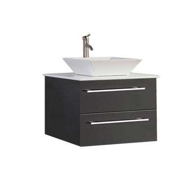Mesina-WM 36 in. W x 20 in. D x 20 in. H Bath  Vanity in Espresso with Ceramic Vanity Top in White with White Basin