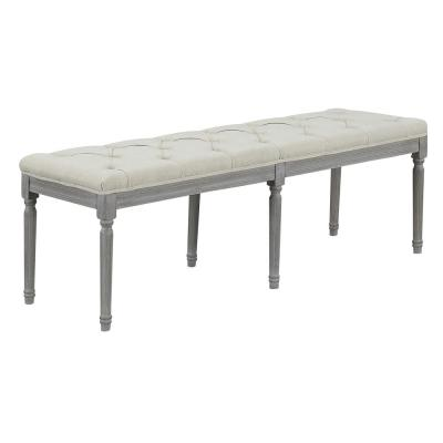 Jack Button Tufted Light Beige Upholstered Bench with Weathered Gray Legs