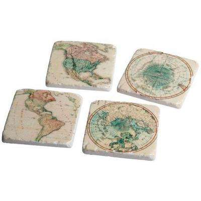 Arts & Crafts Ivory/Green Global Coasters (Set of 4)