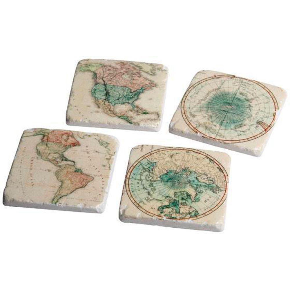 Home Decorators Collection Arts & Crafts Ivory/Green Global Coasters (Set of 4)