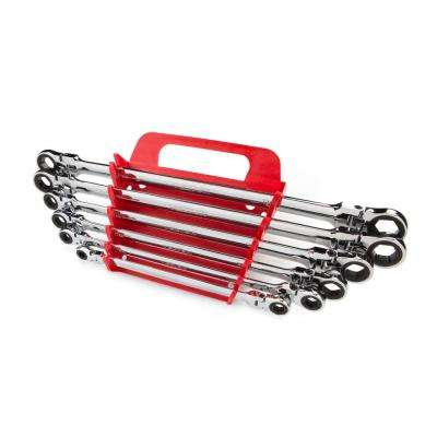 6-Piece Extra Long Flex-Head Ratchet Box End Wrench Set (8-19 mm)