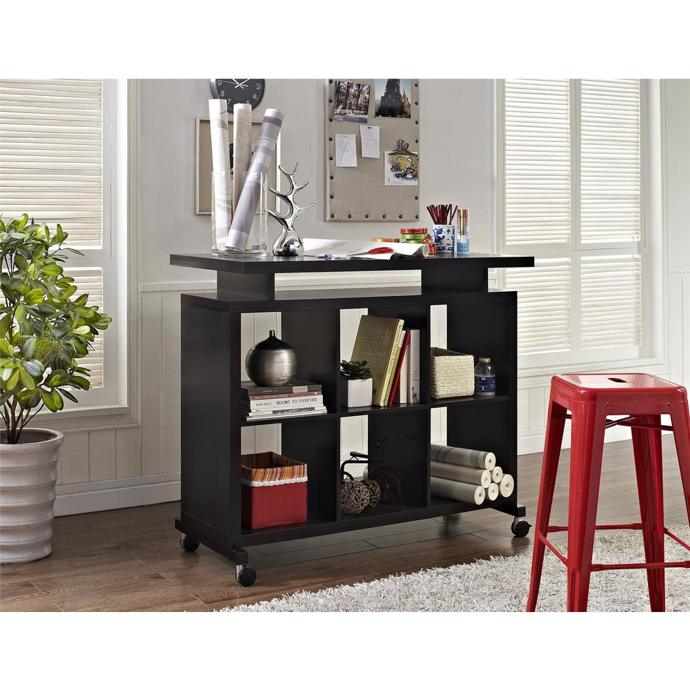 Altra Furniture Lincoln Espresso Standing Desk with Shelves