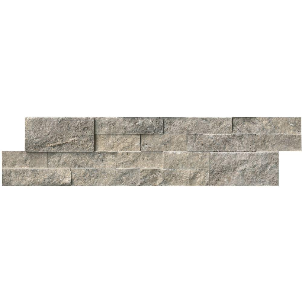 Ms International Trevi Gray Ledger Panel 6 In X 24 Natural Travertine Wall Tile 10 Cases 60 Sq Ft Pallet Lhdpnlttrg624 The Home Depot