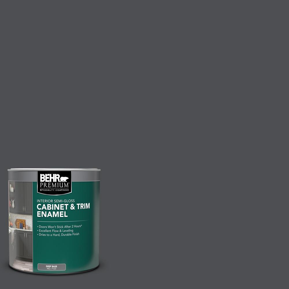 Behr Premium 1 Qt Ppu26 01 Satin Black Semi Gloss Enamel Interior Cabinet And Trim Paint 712304 The Home Depot