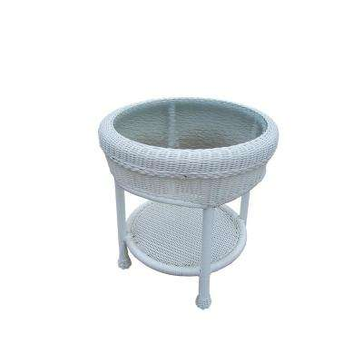 Round Resin Wicker Outdoor Side Table