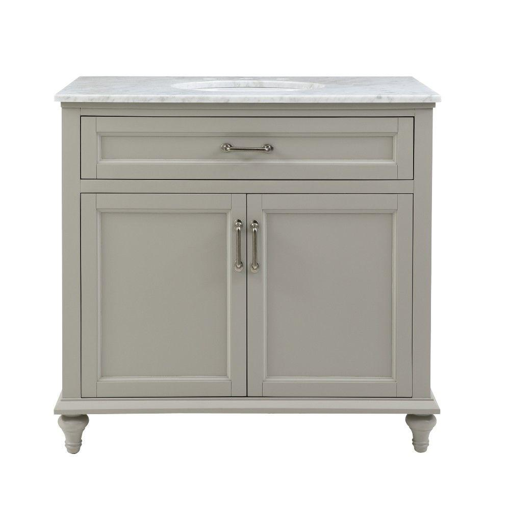 Home Decorators Collection Charleston 37 in. W x 22 in. D Bath Vanity in Grey with Natural Marble Vanity Top in White