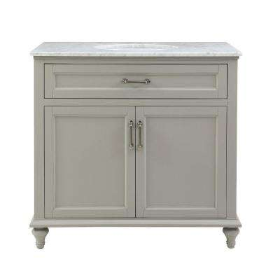 Charleston 37 in. W x 22 in. D Bath Vanity in Grey with Natural Marble Vanity Top in White