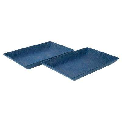 EVO Sustainable Goods Blue Eco-Friendly Wood-Plastic Composite Serving Dish Set (Set of 2)