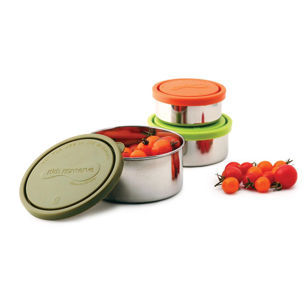 Food Storage Container Stainless Steel Round Nesting Trio Lunches