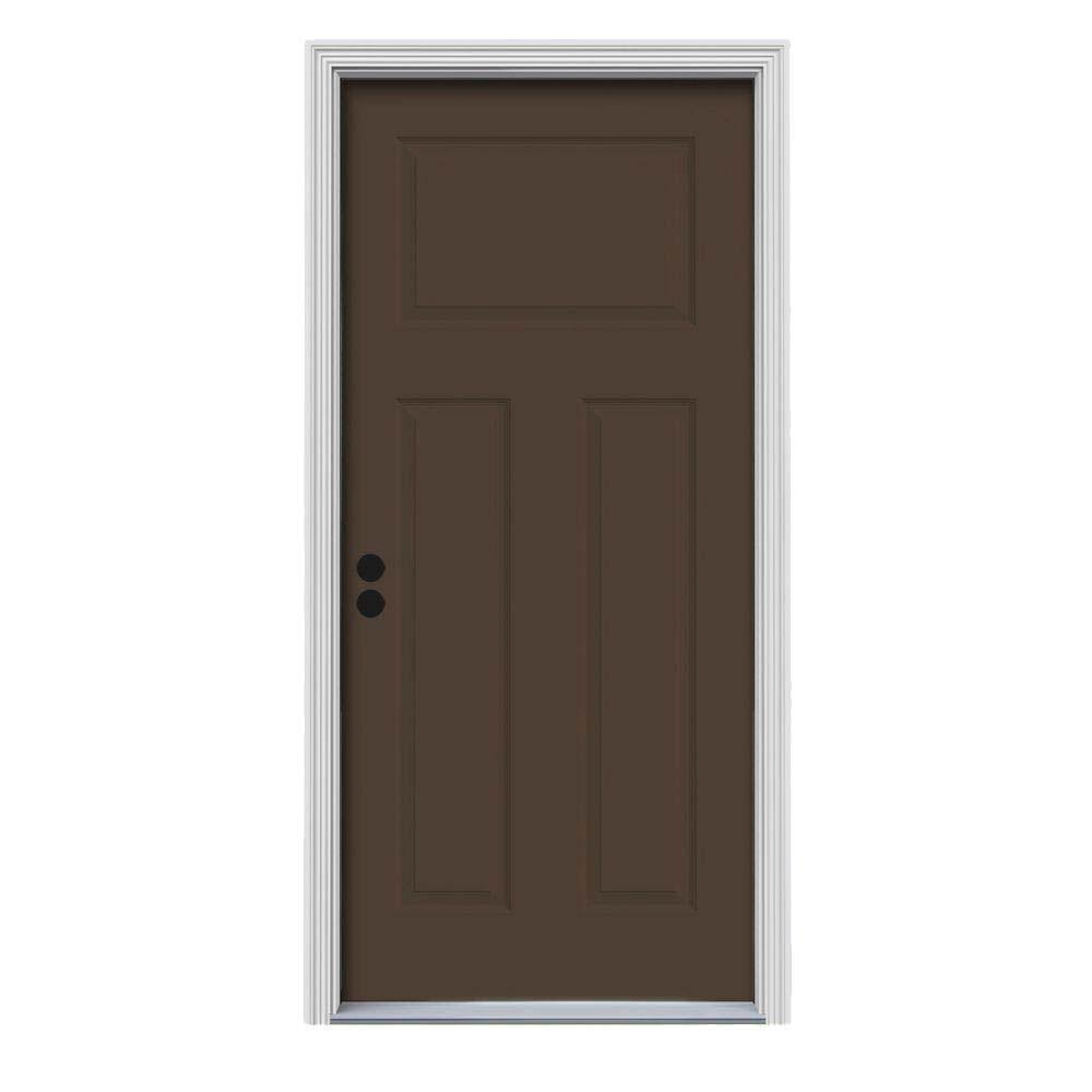 Craftsman 3-Panel Painted Steel Prehung Front Door