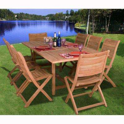 Dublin 9-Piece Teak Extendable Patio Dining Set