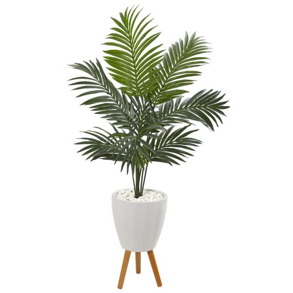Nearly Natural 4.5 ft. Kentia Artificial Palm Tree in White Planter