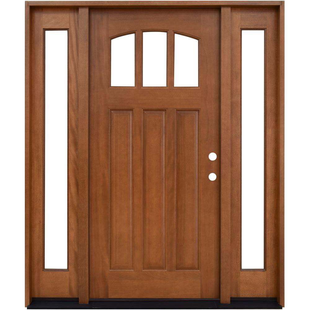 60 in. x 80 in. Craftsman 3 Lite Arch Stained Mahogany