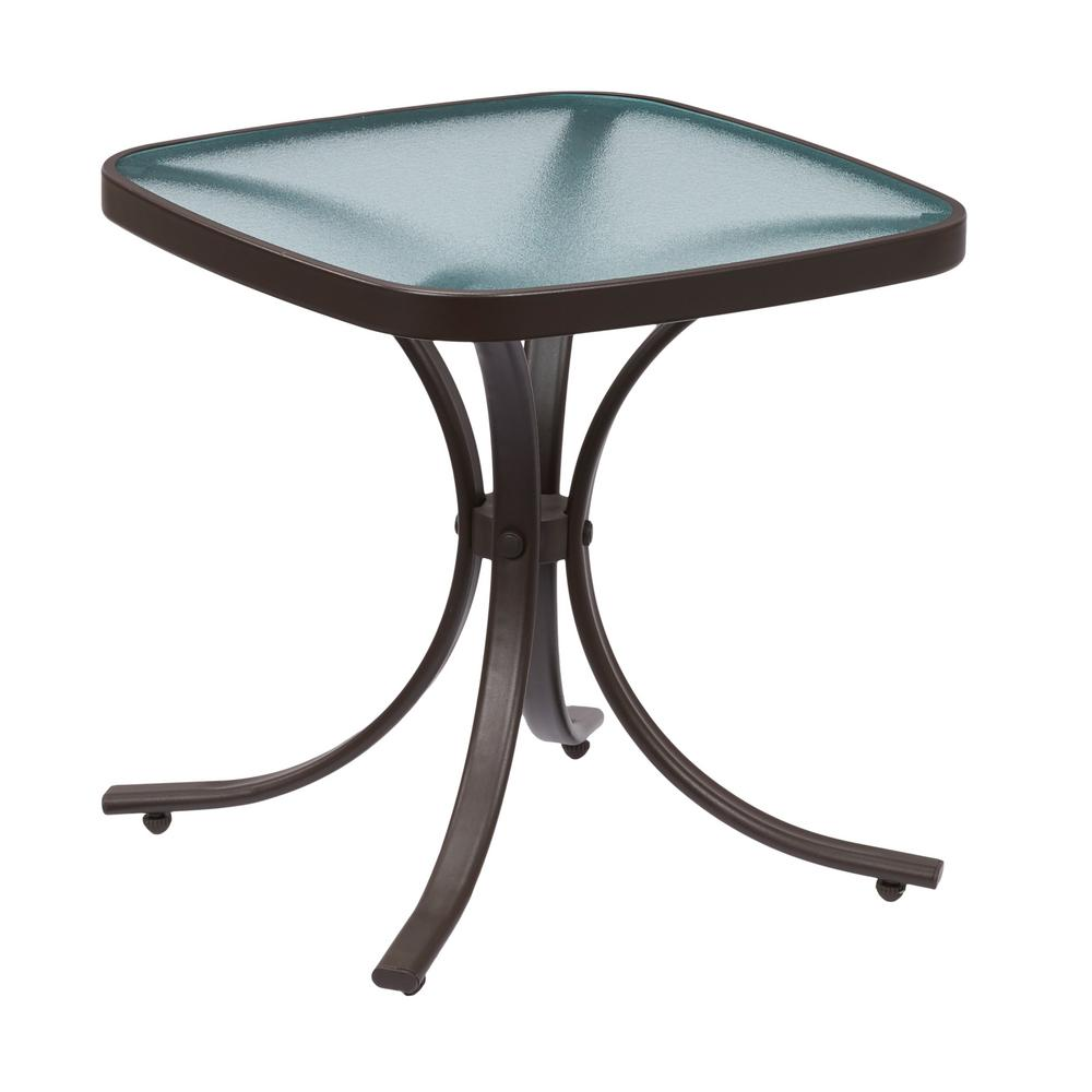 Outdoor Table Top Fan : Hampton bay mix and match square metal outdoor side table