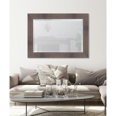 Large Rectangle Grey Beveled Glass Casual Mirror (44 in. H x 32 in. W)