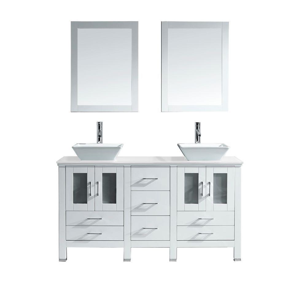 Virtu USA Bradford 60 In. W X 22 In. D Vanity In White With Stone Vanity  Top In White With White Basin And Mirror MD 4305 S WH   The Home Depot