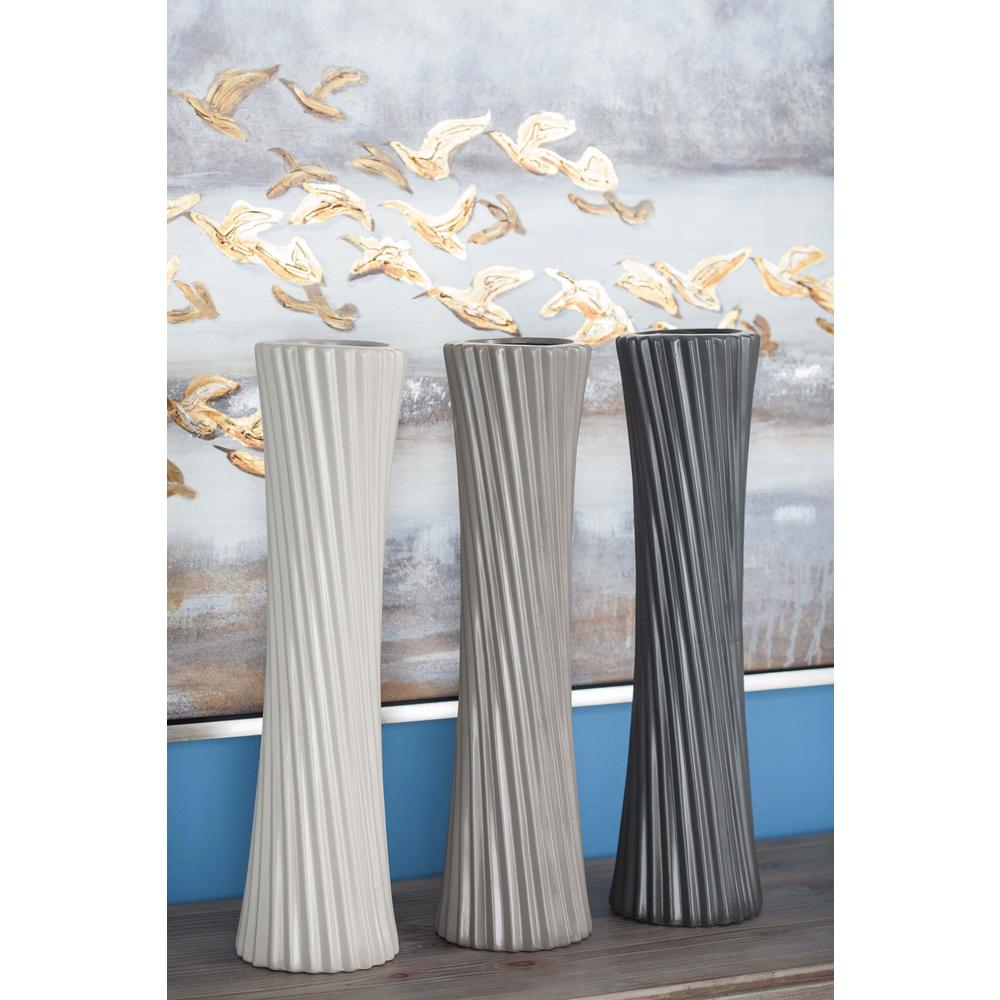 23 in glazed ceramic decorative vases in gray white and black glazed ceramic decorative vases in gray white and black set of 3 87721 the home depot reviewsmspy