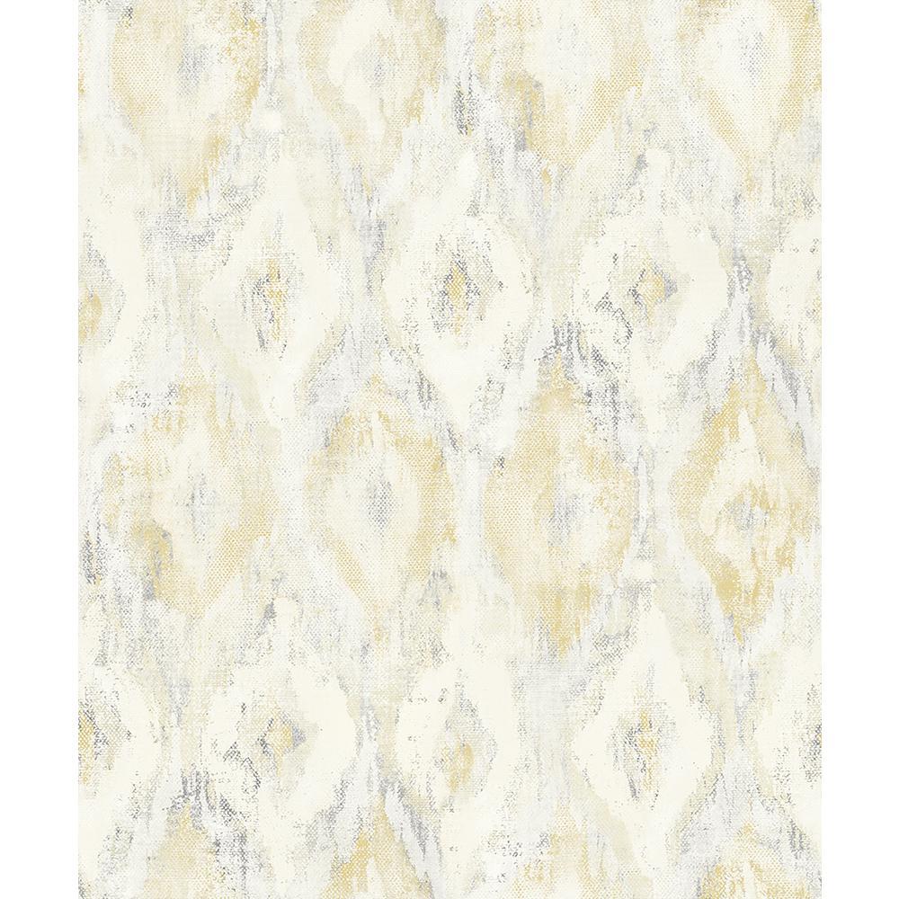 8 in. x 10 in. Gilboa Yellow Ikat Wallpaper Sample