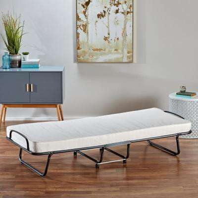 Torino Roll-Away Folding Guest Bed with Metal Frame and 4 in. Reversible Mattress