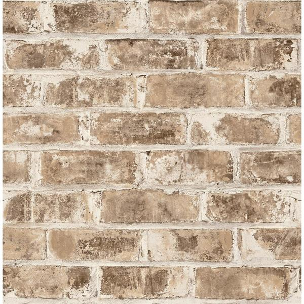 Brewster 56.4 sq. ft. Jomax Neutral Warehouse Brick Wallpaper UW24762