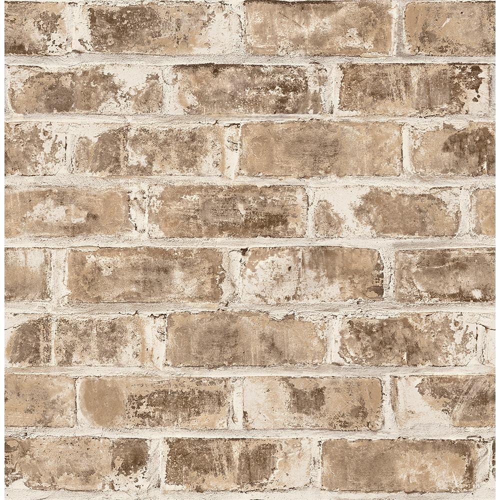 Brewster 8 in. x 10 in. Jomax Neutral Warehouse Brick Wallpaper