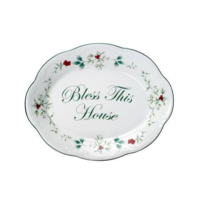 """Winterberry Stoneware """"Bless This House"""" Clay Plate"""