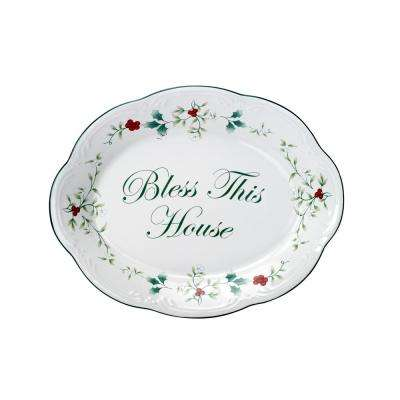 "Winterberry Stoneware ""Bless This House"" Clay Plate"