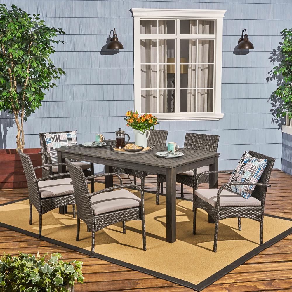Elmar Dark Grey 7-Piece Wood and Wicker Outdoor Dining Set with Grey Cushions