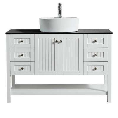 Modena 48 in. Bath Vanity in White with Tempered Glass Vanity Top in Black with White Vessel Sink