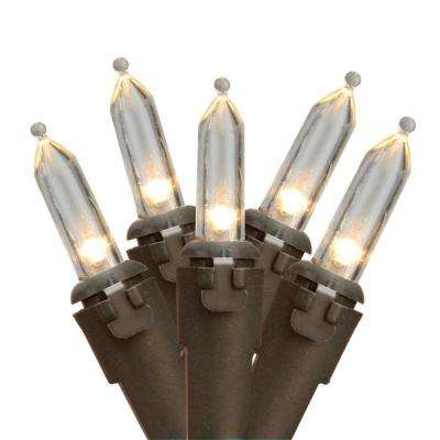 Set of 50 Warm White LED Mini Christmas Lights with Brown Wire
