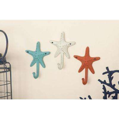 5 in. x 7 in. Coastal-Living Iron Starfish Wall Hooks in Distressed Finish (4-Pack)
