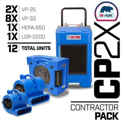 CP-2X Water Contractor Pack 1 LGR Commercial Dehumidifier 1 Air Scrubber 8 Air Mover 2 Mini Air Mover